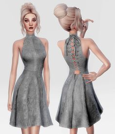 LACE UP SUEDE DRESS at Leeloo • Sims 4 Updates