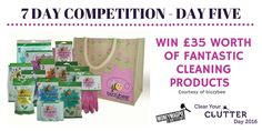 "Competition Day Five – Want to win £35 worth of fantastic Cleaning Products?  This cleaning goody bag contains the whole range of products, including nine varieties of snazzy rubber gloves, four types of cloths and a glittery scourer.  For your chance to win: Like our ""Clear Your Clutter Day"" Facebook page https://www.facebook.com/NationalClearYourClutterDay/ Share this post and enter here: http://www.moneymagpie.com/article/competition-win-a-cleaning-goody-bag-bundle-worth-35"