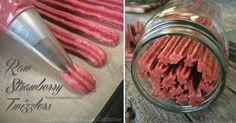Raw Strawberry Twizzlers http://nouveauraw.com/raw-recipies/sweet-treats/raw-strawberry-twizzlers/