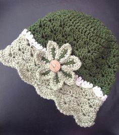 Crochet Hat Name: 'Crocheting : Flowered Shells Hat - Crochet Baby Hat Patterns, Crochet Beanie Pattern, Crochet Cap, Crochet Baby Clothes, Crochet Baby Hats, Crochet Scarves, Knitted Hats, Crochet Crafts, Crochet Projects
