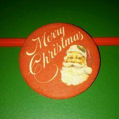 Vtg Rare c1970's CHRISTMAS SANTA PIN by Hallmark Cards Badge Button~Lot S1