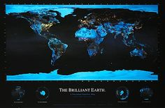 ThinkGeek :: Brilliant Earth Poster Earth At Night, Wall Maps, Brilliant Earth, Contemporary Wall Art, Cool Posters, Gadget Gifts, Satellite Maps, Earth Poster, Wall Colors