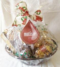 Matisse Chocolatier - Gourmet Chocolate Filled Large Round Corporate Gift Basket, $75.00 (http://www.getfreshchocolate.com/gourmet-chocolate-filled-large-round-corporate-gift-basket/)