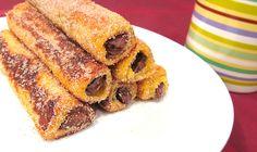 Rollitos de nutella, canela y pan de molde