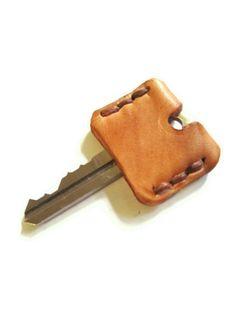 Leather Key Sleeve / Key Cap / Key Identifier / Key Cover / Tan / Monogram / Made in USA