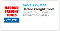 *NEW COUPON* Get 25% Off Harbor Freight Tools