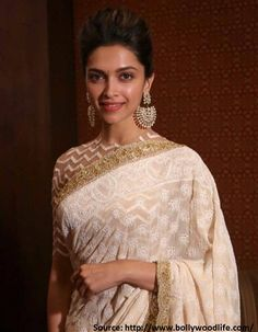 White is appeasing but adding a bit of gold makes it spectacular! And that's exactly what #Deepika has done here, adding a bit of zing to the flowy 'adda' of elegant and graceful white #chikankari by teaming it with a chevron gold blouse! So damn #fabulous!