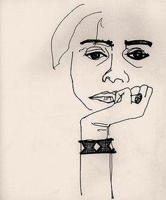 Luiz Zerbini.  Bia 3 , 1995   nanquim sobre papel   20 x 17,5 cm