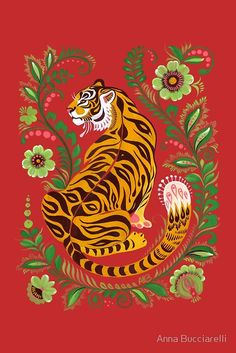 Tiger Folk Art' Poster by Anna Bucciarelli is part of Tiger Folk Art Posters By Anna Bucciarelli Redbubble - Tiger illustration featuring Eastern European folk art motifs Tiger Illustration, Cat Illustrations, Kunst Inspo, Art Inspo, L Wallpaper, Pattern Wallpaper, Drawn Art, Art Populaire, Kunst Poster