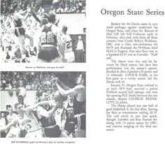 Recap of the 1957-58 Oregon State-Oregon basketball series. From the 1958 Oregana (University of Oregon yearbook). www.CampusAttic.com