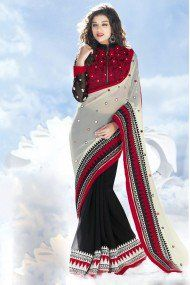 Bollywood Style Model 60 Gm Georgette Party Wear Saree in Black and Red Colour NC2471