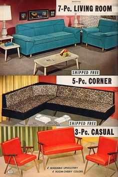 Fabulous mid-century living room furniture from the NBH catalog, 1960s