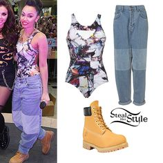 Leigh Anne and the Little Mix girls performed at Eastland Shopping Centre on Wednesday for hundreds of their fans. Leigh Anne wore a Lucas Hugh Krypton Swimsuit (£82.50), a pair of Velvet