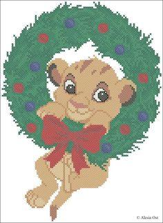 Simba Christmas wreath cross stitch
