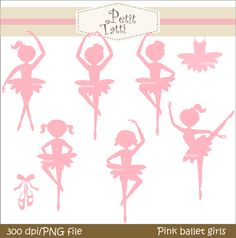 Digital clip art for all use, Pink Ballet girls