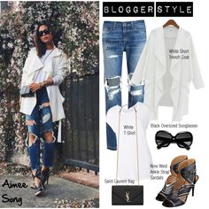 Blogger Style: Aimee Song by helenevlacho on Polyvore featuring Witchery, rag & bone/JEAN, Nine West, Yves Saint Laurent and Ray-Ban