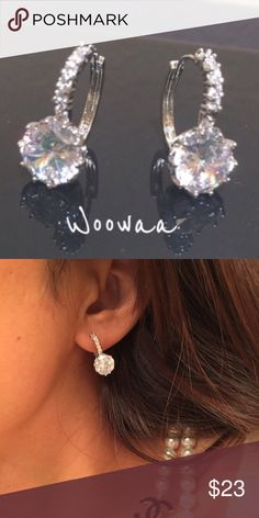 18K white gold filled swarovski crystal Available on 11/23/16  Earring size:15*15cm Gem Type:swarovski crystal Main Gem Size:10mm Gem Quantity:12 Cut:round Brilliant Color:white Metal Type:18k white gold filled Gram Weight:4.2grams  Come with a pretty box Jewelry Earrings