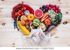 Stock Photo: Modern composition of fresh healthy vegetables and fruits on the wooden table in the kitchen. Healthy detox and balance diet. Healthy Detox, Healthy Vegetables, Balanced Diet, Wooden Tables, Top View, Zero Waste, Decoration, Vegan Vegetarian, Acai Bowl
