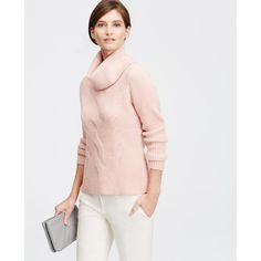 Ann Taylor Cowl Neck Cable Sweater ($70) ❤ liked on Polyvore featuring tops, sweaters, victorian blush, cableknit sweater, cable sweater, cowlneck top, ann taylor tops and chunky cable knit sweater