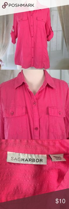 """Sag Harbor Pink Long Sleeved Button Down Shirt Very nice pink longsleeve button-down shirt. Great condition. 97% cotton, and 3% metallic.  Just pockets. Size M. Bust 36 and length 25"""".  TB66 Sag Harbor Tops Button Down Shirts"""