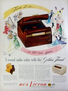 1948 RCA Victor Radio Record Player Vintage Advertisement Music Room Wall Art Bedroom Decor Original Magazine Print Ad Paper Ephemera by RelicEclectic on Etsy