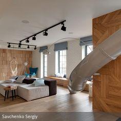 **Apartment mit eingebauter Rutsche: Das ukrainische Interior-Design-Studio Ki Design hat eine alte Maisonette-Wohnung in Kiew zum ultimativen Kindheitstraum…