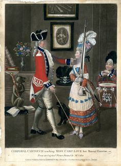 Corporal Cartouch teaching Miss Camp-Love her Manual Exercise, John Collett, 1780,  A soldier drilling an attractive young woman, tilting up her chin while she stands shouldering a musket on the right, mimicked by a monkey sitting on a music book and holding a flute, with a dog and a drummer boy, books and a vase on a chest-of-drawers, a picture of a young female archer and another of the 'Camp of Winchester' on the wall behind.