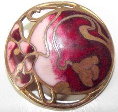 Lovely antique enamel button Art Nouveau floral design