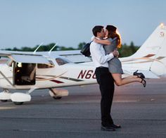 a little mad men with airplanes for our engagement shoot