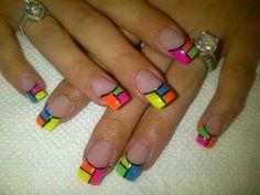 neon blocks by nadiafouche - Nail Art Gallery nailartgallery.nailsmag.com by Nails Magazine www.nailsmag.com #nailart
