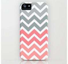 Pink and grey chevron iPhone case