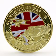 OOTDTY Gold Plated The Great War Commemorative Coin Art Collection Colored