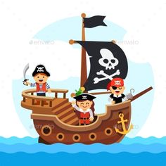 Ilustração de Kids pirate ship sailing in the sea with black flag and sail decorated with scull and cross bones. Flat style vector cartoon illustration isolated on white background. arte vetorial, clipart e vetores stock. Cartoon Pirate Ship, Pirate Ship Drawing, Kids Pirate Ship, Pirate Art, Pirate Theme, Pirate Illustration, Illustration Cartoon, Images Pirates, Impression Textile