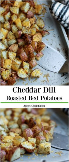 Your whole family will love these wonderfully spiced roasted red potatoes with dill and melted cheddar cheese.