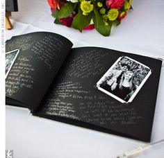 Guest book with black-and-white photos (photo booth). Guests write a note to the couple with a silver-ink pen, which pops against the black paper.