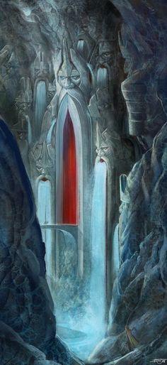 Ancient Vikings statues inside a cavern