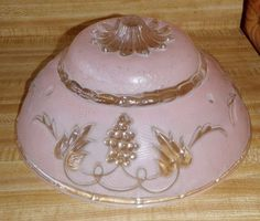 Vintage Victorian Style Round Frosted Pink  Glass Ceiling Light Globe Grapes