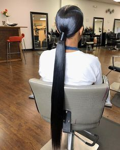 """#chasedoesmyhair🖤 on Instagram: """"Her hair was super thick but I got it super flat. When I say any type of hair texture can get a pony, I'm being serious 🥶 #rvahairstylist…"""" Old Hairstyles, Ponytail Hairstyles, Weave Hairstyles, Straight Hairstyles, Hairstyle Ideas, Hair Ideas, Sleek Ponytail, Ponytail Styles, Hair Hub"""