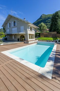 #MoistureShield Composite Decking is perfect for a pool deck. Build a beautiful backyard that can stand up to the wear and tear a pool brings.