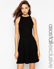 ASOS TALL High Neck Skater Dress