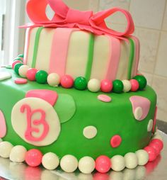 Pink & Green Birthday Cake - Littke girl birthday cake