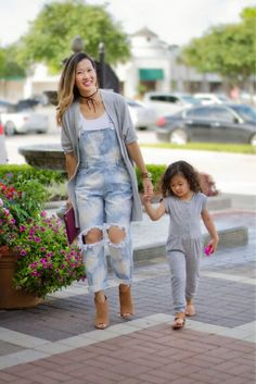 Mom Style: Distressed Overalls, mommy and me style, mom street chic, mother daughter outfit