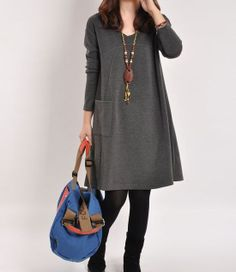 Cotton dress Long sleeve dress cotton tops by PerfectChlothing, $59.00