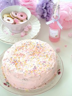Very cute, pink Cake with pastel sprinkles. Suitable for hen / birthday or baby shower parties.