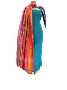 Cotton Silk Kurta & Handloom Maheshwari Dupatta Set- Blue&OrangeThis  kurta dupatta set brings together a  cotton silk kurta piece and handloom maheshwari