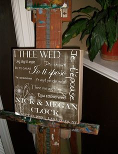 I THEE WED Unique Wedding Gift Personalized by ChocolateMooseHome, $100.00