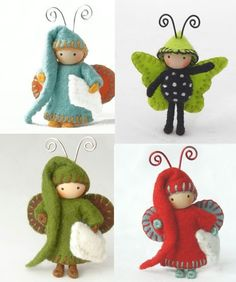 Juicy Bugs by Dana D. on etsy Felt Christmas, Christmas Crafts, Craft Projects, Sewing Projects, Crafts For Kids, Arts And Crafts, Felt Fairy, Clothespin Dolls, Felt Patterns