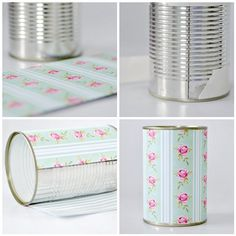 Good use for cans that would be thrown away + scrapbook paper not getting used anyway!