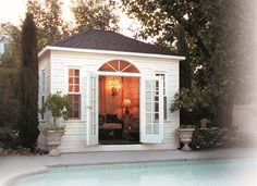 The Sonoma pool cabana boasts a 4 sided hip roof design creating a cathedral-like overhead. Visit us now to learn more! Pool Shed, Garden Pool, Garden Sheds, Hip Roof Design, Backyard Studio, Backyard Cottage, Garden Studio, Backyard Paradise, Backyard Retreat