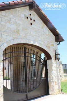 Custom designed porte cochere gates for Mediterranean-style home. Let us help you custom build the dream gate that matches your dream home! Front Gates, Entrance Gates, Arch Gate, Iron Gate Design, Custom Gates, Porte Cochere, Mediterranean Style Homes, Driveway Gate, Modern Farmhouse Style